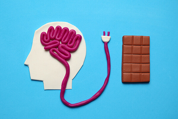 Rending of a head in profile with brain matter made out of modeling clay and a power plug at the end, beside it is a chocolate bar made of modeling clay