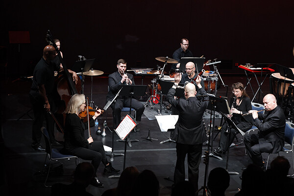Orchestra performing with conductor