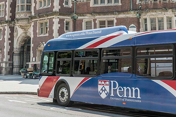 One of the buses in the fleet of Penn Buses on campus