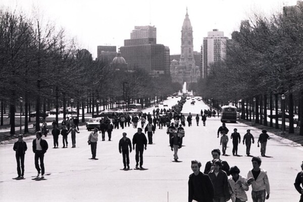 People march along Benjamin Franklin Parkway in Philadelphia on April 22, 1970 during Earth Day.