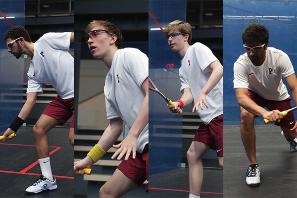 A composite of the four All-Americans on the Penn men's squash team. Each is playing during a match.