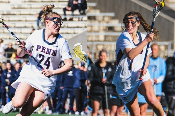 Junior defender Abby Bosco, right, and senior attacker Gabby Rosenzweig, run with their sticks during a game.