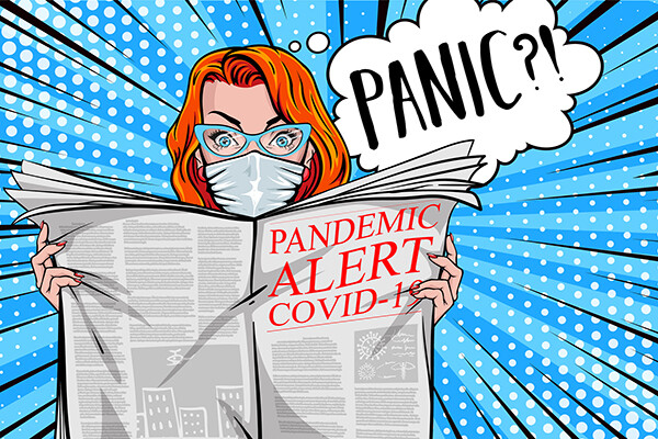Cartoon of a person wearing a face back wondering if they should panic while reading a tabloid newspaper with the headline reading pandemic alert covid-19.