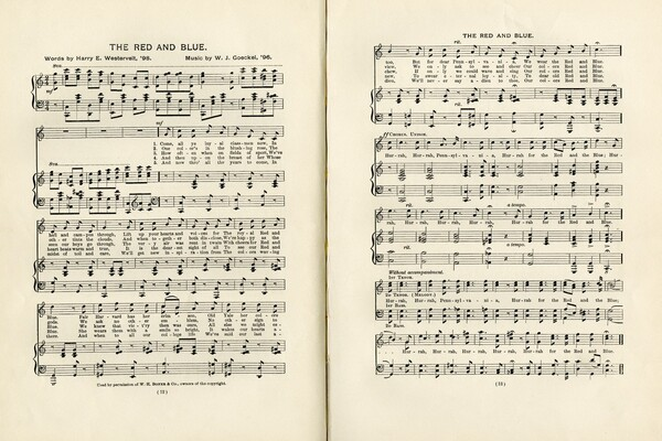 two pages of musical notes and lyrics