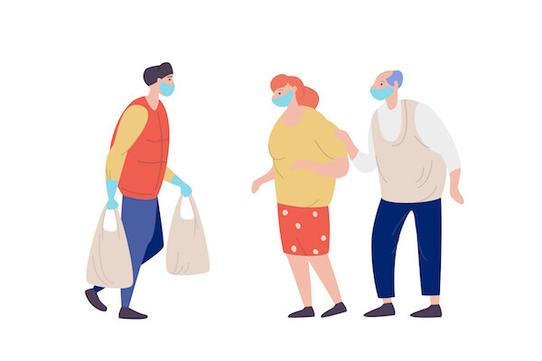 Graphic illustration of essential worker delivering groceries to an older couple