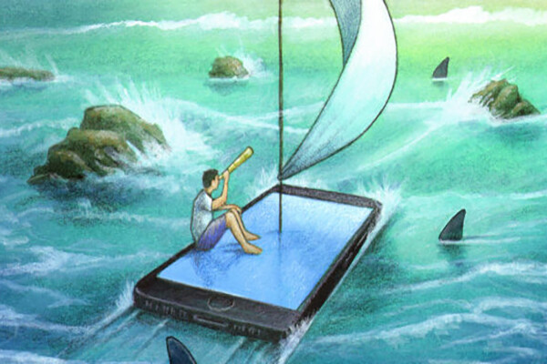 Illustration of a person in an open sea with sharks circling their sailboat, which is rendered as a smartphone or tablet instead of boat.