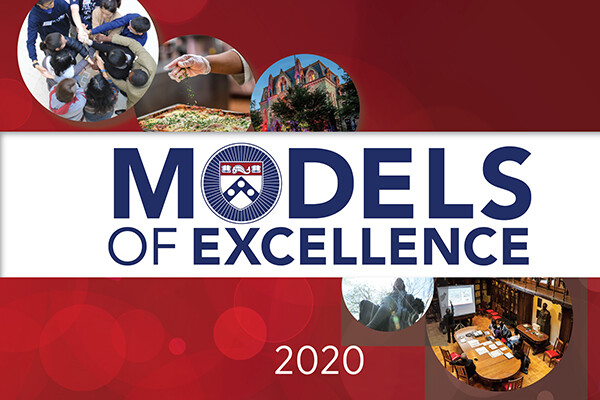 E-book cover of Model of Excellence 2020 awards with pictures from around Penn campus