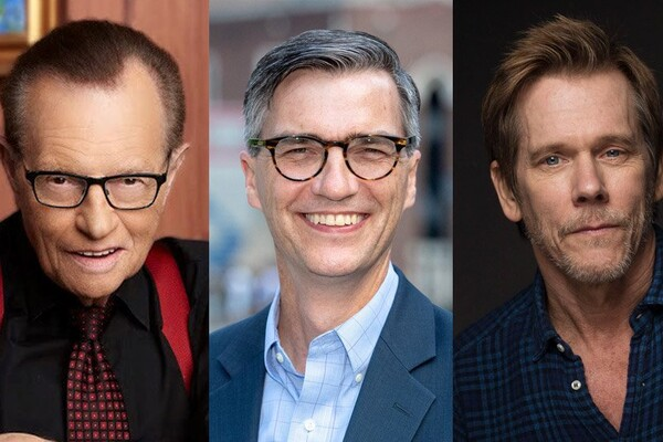 Close-up images of three people. On the left is journalist Larry King, wearing a black shirt, a red tie and red suspenders. In the center is James Pawelski, a Penn researcher, wearing a blue blazer and blue shirt. On the right is actor Kevin Bacon, weather a blue and black button down shirt.