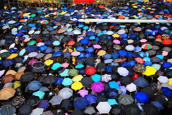 Colorful umbrellas gathered on street