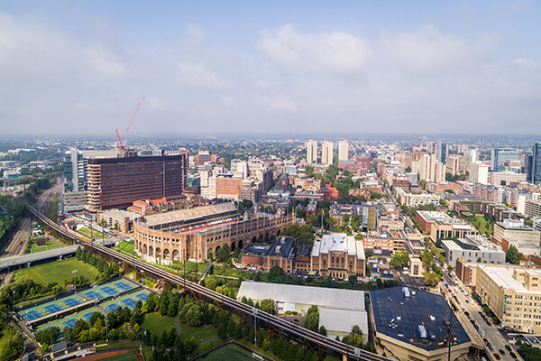 Panaramic aerial view of the city of Philadelphia and Penn's campus