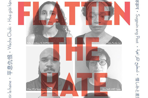 "Gridded image with ""flatten the hate"" written across the front and the translation in various languages around the border"