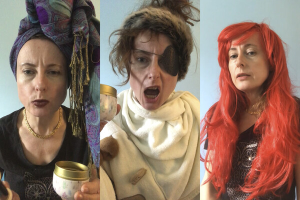Professor Emily Wilson dressed in costume as three different characters in the Odyssey, one with a fringed scarf around her head, one with an eye patch and a fur headband, and one with a wig with long red hair.