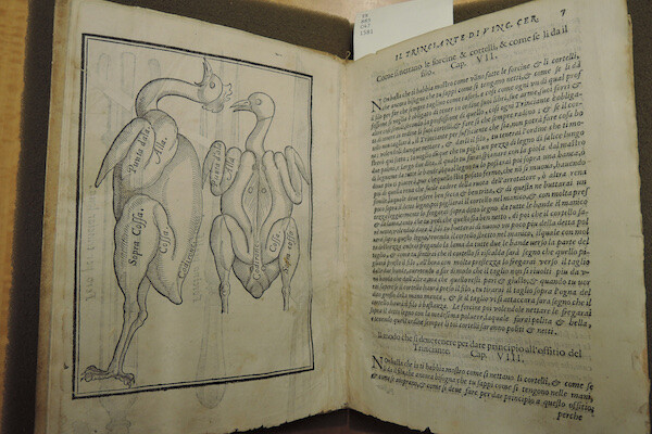 An old book is displays poultry butchering on one side; Italian text on the other