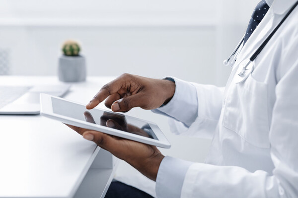 Doctor holding electronic tablet