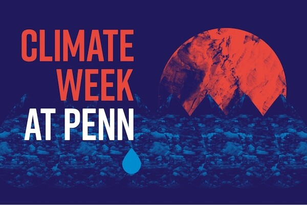 Abstract image of red earth and blue water with words Climate Week at Penn