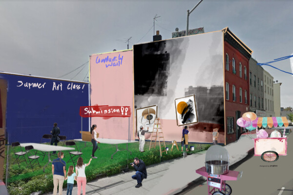 a design of a public space in an urban area, marked with summer art class, grafitti wall, and submission and a sign over the city street that says Bushwick Summer Block Party