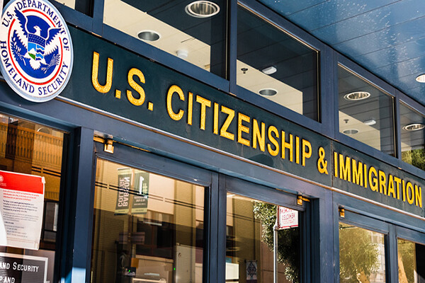 Entrance to the U.S. Citizenship & Immigration Services building.
