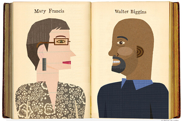 Illustration of an open book, on the left side is a profile drawing of Mary Francis, on the right is Walter Biggins.