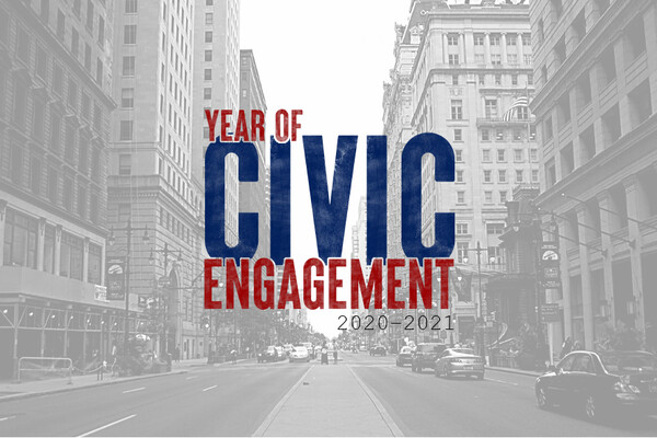 The Year of Civic Engagement text logo in the foreground with Center City Philadelphia in the background