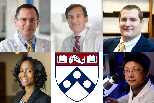 five faculty headshots and the Penn shield