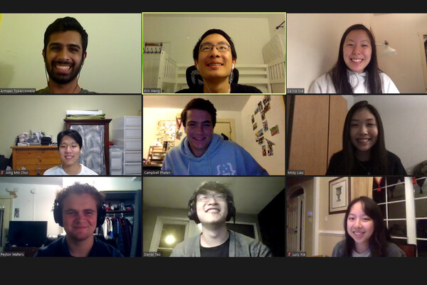 Nine student faces in a videoconference