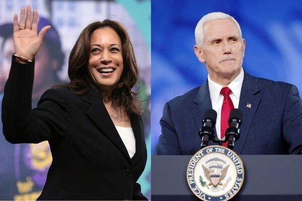 Kamala Harris waving and smiling at left, Vice President Mike Pence at a podium on the right