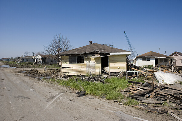 A house destroyed by Hurricane Katrina flooding in New Orleans.