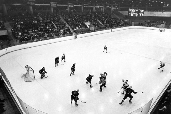Two teams face off at the Penn Ice Rink circa 1972.