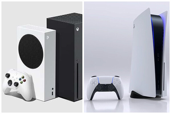 Xbox and PlayStation consoles side by side