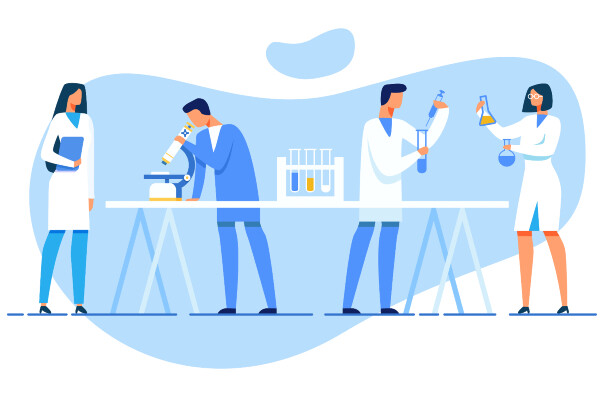 a cartoon of four researchers one with a notebook, one looking through a microscope, one injecting liquid into a test tube, and one looking at two flasks