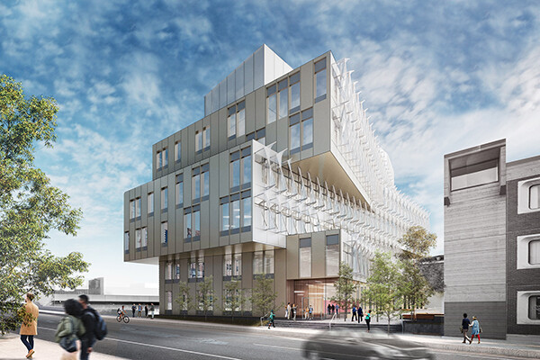 Architectural rendering of the new Vagelos building on Walnut Street on Penn's campus.