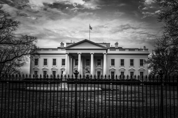 stock image of the white house in black and white