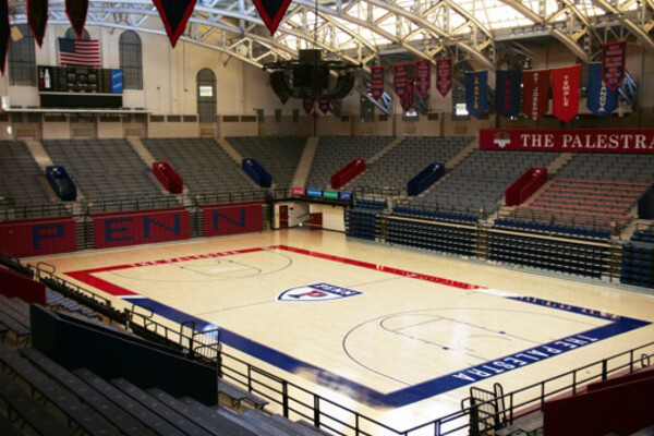 The Palestra arena at Penn sits empty.