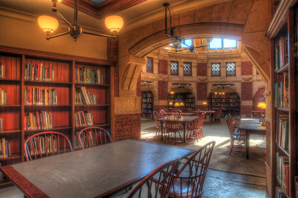 Inside a reading room in the Fisher Fine Arts Library