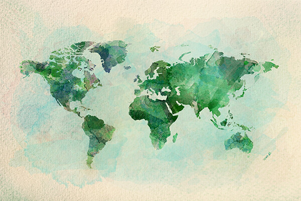 Watercolor rendering of a world map.