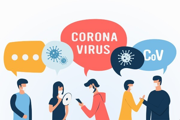 a cartoon of people wearing face masks with various speech bubbles that have images of a virus, the word coronavirus, and CoV