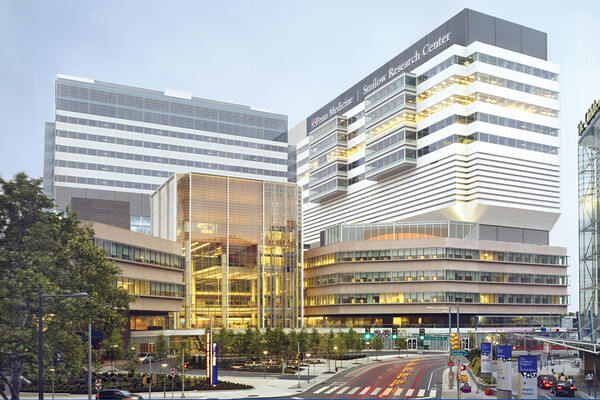 An exterior view of the Perelman School of Medicine. The Smilow Research Center is at right.