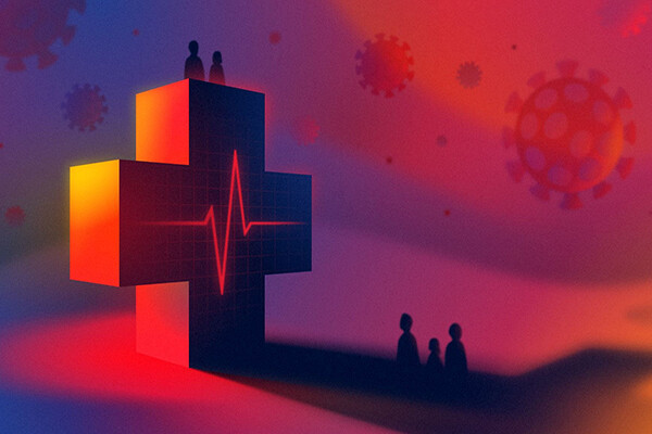Large rendering of the healthcare cross symbol with people standing both on top of and below the symbol against a background featuring the coronavirus germ floating nearby.
