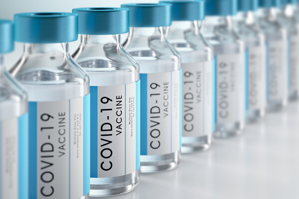 row of COVID-19 vials