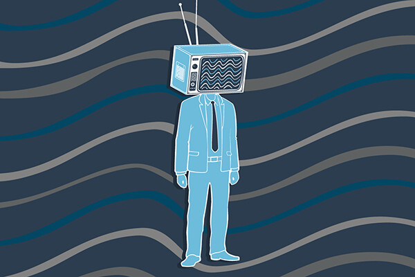 Cartoon of a human person in a suit with a television for a head with waves implying wavelengths in the background.