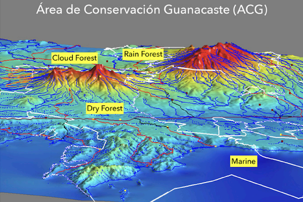 Topographic map of Area de Conservacion Guanacaste in Costa Rica showing different biomes