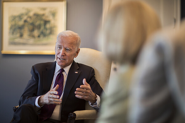 Biden speaking in his offie at the Penn Biden Center