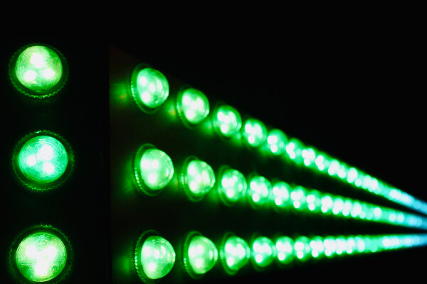 a line of green LED lights