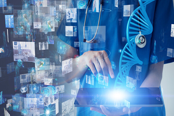 Medical professional holding an iPad with medical visuals like DNA strings and snapshots of medical imagery floating in background.