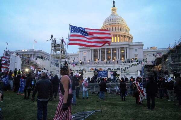 "A person in an American flag outfit and bandana carrying an American flag in front of a large group of people at the U.S. Capitol building. Many hold flags that read ""Trump 2020."""