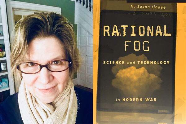 Side-by-side photos of author and book cover of Rational Fog by M. Susan Lindee