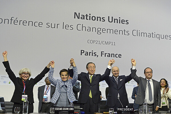 International leaders celebrate the Paris Climate Accord