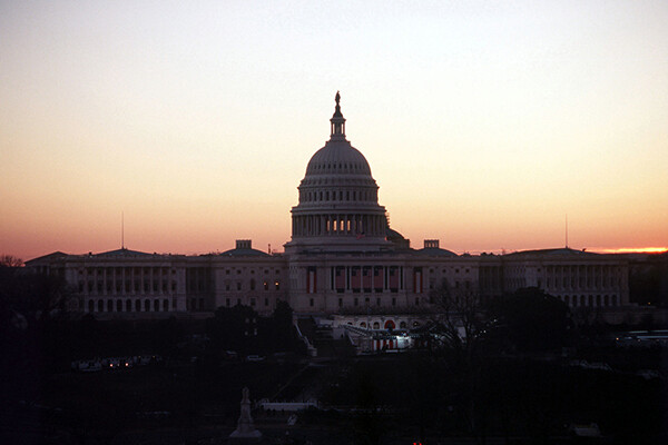 The U.S. Capitol building is seen at dusk