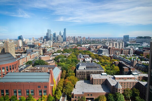 aerial view of Philadelphia skyline from vantage point of Penn's campus