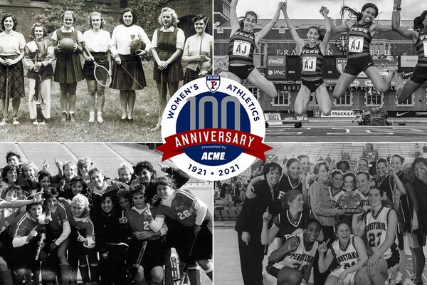 A logo for the 100th anniversary of women's sports at Penn shows women athletes from various decades.